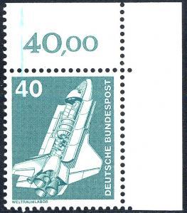 850 IuT Weltraumlabor 40 Pf - Farbstrich in Markenfarbe links oben, Ecke o.r. **