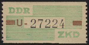 VII Dienst-B, Billet Buchstabe U, grün/braun/schwarz, ** postfrisch