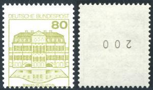 1140 BuS 80 Pf. - Rollenmarke mit Nummer 200 und Verzähnung im Markenbild, **