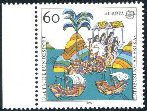 1608 Europa 60 Pf - Passerverschiebungen grün und graulila, **