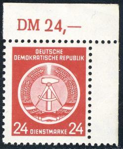 9x XI Dienst-A Zirkel 24 Pf. Wz.2X I, Ecke oben rechts ** postfrisch