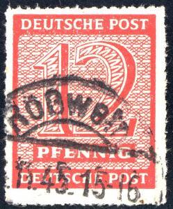 119DX Ziffer 12 Pf. Postmeistertrennung Roßwein, gestempelt geprüft Jasch BPP