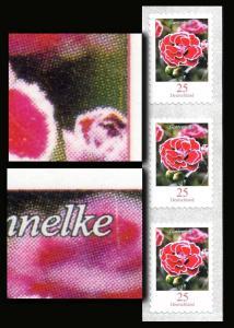 2699 Blumen 0,25 sk 3er-Streifen mit zwei Markendruckfehlern - Striche, **