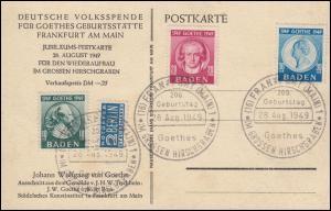 47-49 Goethe 1949, Satz auf Maximumkarte, SST FfM 28.8.1949