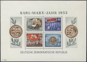 Block 9A YI Karl Marx 1953 gezähnt, postfrisch