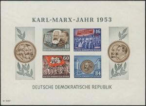 Block 9B YII Karl Marx 1953 ungezähnt, postfrisch / ** / MNH
