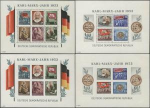 Block 8/9 A/B YI Karl Marx 1953, vier Blöcke komplett postfrisch **