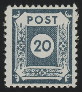 48DIIa Ziffern 20 Pf. Postmeistertrennung, ** geprüft STRÖH BPP