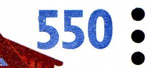 1746 SWK 550 Pf ER-Viererblock mit MDF Ausbuchtung an der 5 in 550, Feld 100, **