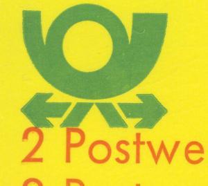 12caI MH BuS 1980 mit DDF berührende Farben rot und grün unten am Posthorn, **