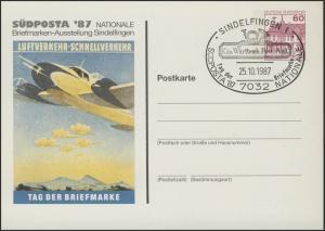 PP 106/150 SÜDPOSTA'87 Luftverkehr Tag der Briefmarke SSt. Sindelfingen 25.10.87
