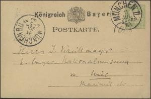Bayern Postkarte P 17 Wappen 3 Pf. Orts-PK MÜNCHEN II. 11.7.83 nach MÜNCHEN B.Ü.