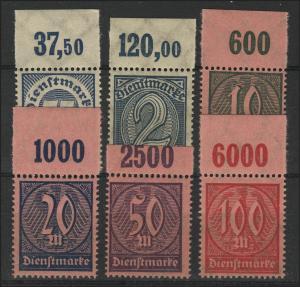 69-74 P OR Dienstmarken 1922/23 sechs Werte vom Oberrand, Plattendruck, Satz **