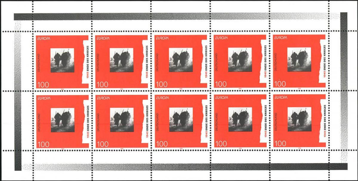 1790 Europa: Frieden und Freiheit 100 Pf. - 10er-Bogen mit PLF I, Feld 9 ** 1