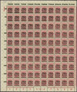 295 Infla 250 Tausend: Schalterbogen FN 5 mit MICHEL-PLF I, Feld 88 **