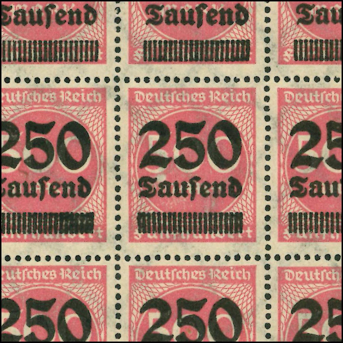 295 Infla 250 Tausend: Schalterbogen FN 5 mit MICHEL-PLF I, Feld 88 ** 1