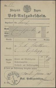 Bayern Post-Aufgabeschein HERSBRUCK 6.6.85