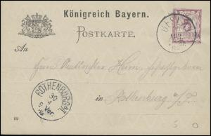 Bayern Postkarte Ziffer 5 Pf. GESLAU 30.4.89 nach ROTHENBURG a. Tauber 30.4.89
