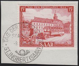 349 Tag der Briefmarke 1954 - mit Ersttagssonderstempel 9.5.1954 auf Briefstück