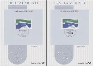 ETB 33S/2002 Hochwasserhilfe 56+44 Cent in beiden Typen AI und CII, Set
