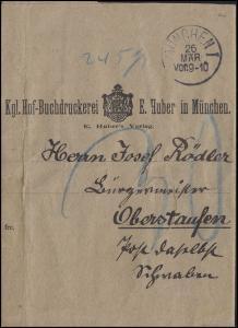 Bayern Streifband/Nachporto Hof-Buchdruckerei Huber MÜNCHEN 26.3. n. OBERSTAUFEN