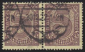 33b Dienstmarke 5 Mark im Paar, ungefaltet, gestempelt 30.12.22, INFLA-geprüft