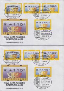 3.2 Posthörner MWZD 8 ATM 10-440 Pf., Satz auf 2 FDC mit ESST Berlin 22.10.99