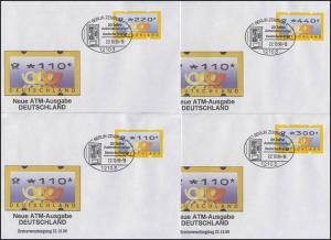 3.2 Posthörner MWZD 8 ATM 10-440 Pf., Satz auf 8 FDC mit ESST Berlin 22.10.99