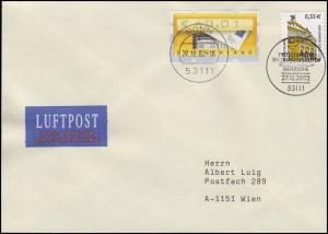 2304BA SWK Alte Oper Frankfurt, Luftpost-FDC ESSt Bonn 27.12.2002 nach Wien