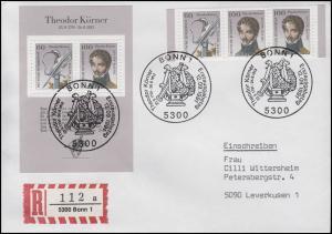 Block 25 Theodor Körner + 3 Ezm aus Bl.25, MiF R-FDC ESSt Bonn 12.9.1991