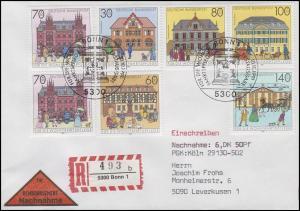 1563-1568 Historische Posthäuser, MiF R-NN-FDC ESSt Bonn Briefkasten 10.10.1991
