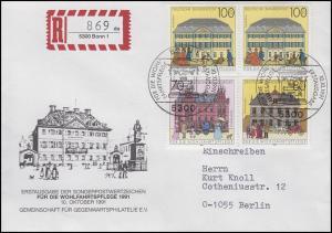 1565-1567 Historische Posthäuser, MiF R-FDC ESSt Bonn 1991 - R-Zettel gedruckt!