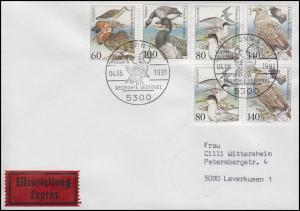 1939-1542 Bedrohte Seevögel, MiF Eil-FDC ESSt Bonn Kampfläufer 4.6.1991