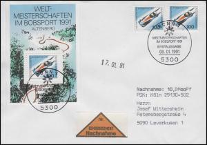 Block 23 Bobsport WM mit 2 Ezm aus Bl.23, NN-FDC ESSt Bonn Bobsport 8.1.1991