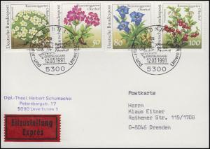 1505-1509 Rennsteiggarten, 4 Werte Eil-FDC-Postkarte ESSt Bonn 12.3.1991