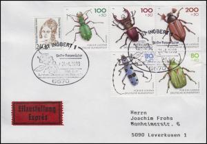 1666-1670 Gefährdete Käfer, Eil-Bf SSt St. Ingbert Großer Puppenräuber 24.4.1993