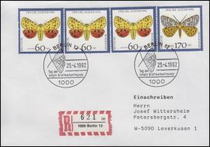 1602+1606 Gefährdete Nachtfalter 60+170 Pf MiF R-Bf SSt Berlin 25.4.1992