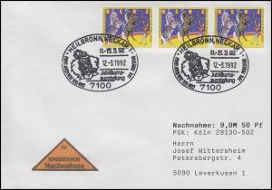 1600 Zirkus Renz, 3er-Streifen als MeF NN-FDC ESSt Heilbronn Clown 12.3.92