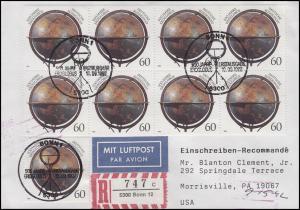 1627 Erdglobus, MeF Lp-R-FDC ESSt Bonn 10.8.1992 in die USA AK-O 15.9.1992
