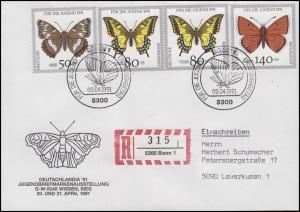 1512-1519 Schmetterlinge auf 2 R-Briefen je ESSt Bonn Schmetterling 9.4.1991