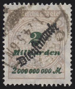 84 Dienstmarke 2 Mrd Mark, gestempelt, INFLA-geprüft