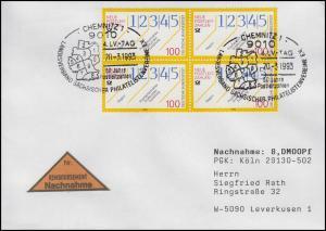 1659 Neue Postleitzahlen, MeF NN-Bf SSt Chemnitz Postleitzahlen-Karte 20.3.1993