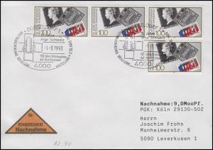 1479 Briefmarken, MeF NN-Brief SSt Düsseldorf Ausstellung & Arge Schweiz 1.3.93