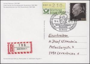 1601 Konrad Adenauer, Ansichskarte Adenauer SSt Bonn Adenauer-Portrait 19.4.92