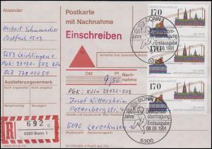 1557 Drehstromübertragung, MeF Postkarte mit NN & Einschreiben ESSt Bonn 8.8.91