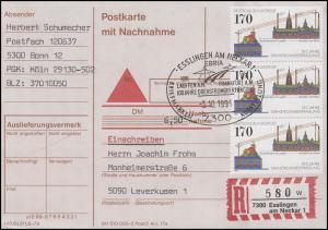 1557 Drehstromübertragung, MeF Postkarte mit Nachnahme SSt Esslingen 3.10.1991