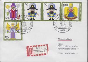 1484-1487 Weihnachten & Kunsthandwerk MiF R-FDC ESSt Bonn 6.11.1990 mit E-Schein