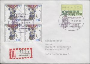 1638 Tag der Briefmarke Viererblock, MiF R-FDC ESSt Berlin Ballonpost 15.10.92