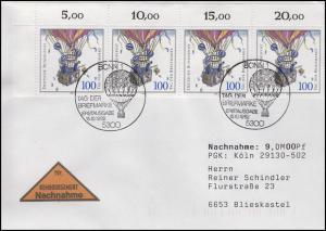 1638 Tag der Briefmarke ER-4er-Streifen MeF NN-FDC ESSt Bonn Ballonpost 15.10.92