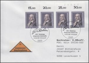 1681 Friedrich Hölderlin Dichter OR-Streifen mit BZN, NN-FDC ESSt Bonn 17.6.93